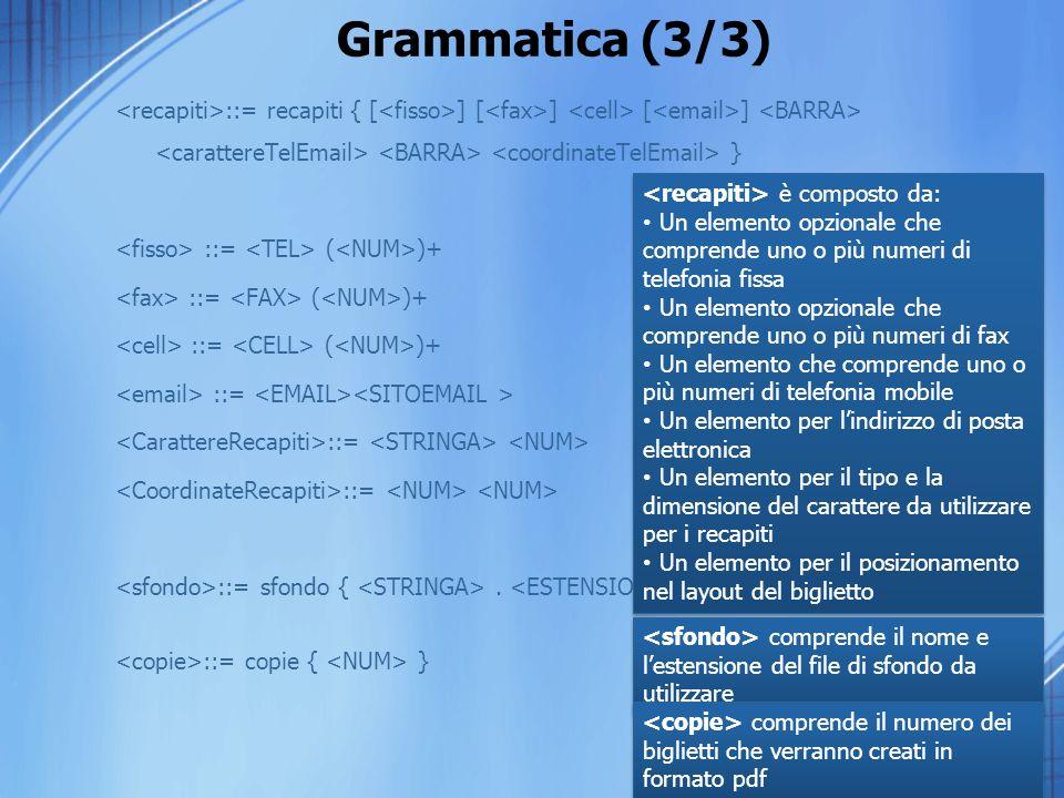 Grammatica (3/3) <recapiti>::= recapiti { [<fisso>] [<fax>] <cell> [<email>] <BARRA> <carattereTelEmail> <BARRA> <coordinateTelEmail> }